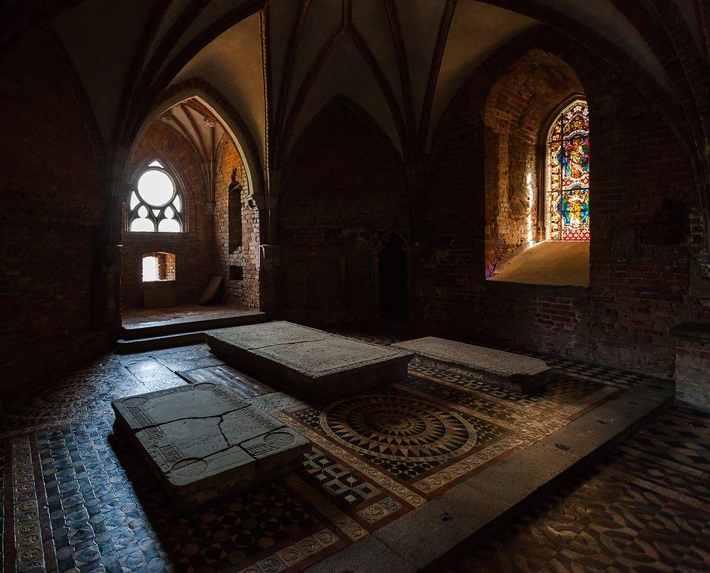Three gravestones in St. Anne's Chapel located inside Malbork' castle.