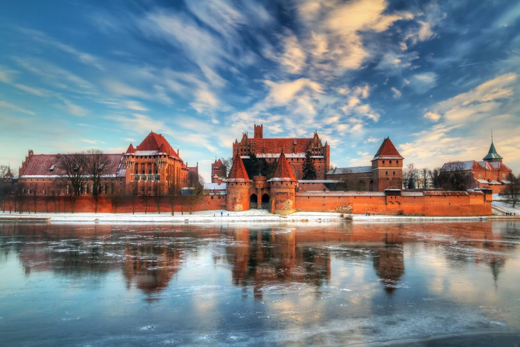 Malbork's Teutonic castle from the other side of the frozen Nogat river
