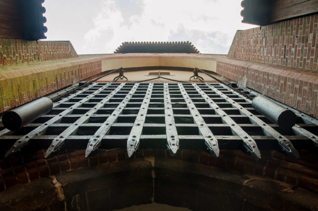 Metal Entrance heavy Duty Gate of Malbork Castle from below