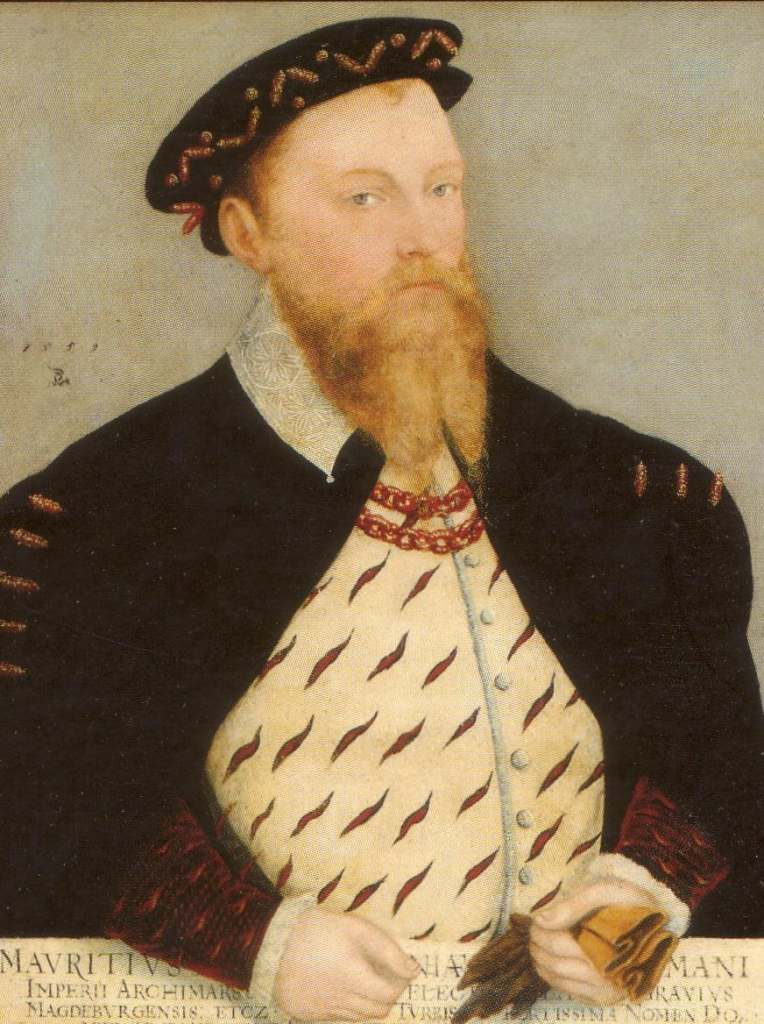 The portrait of the Duke Maurice of Saxon who built Mortizburg castle in 1542.