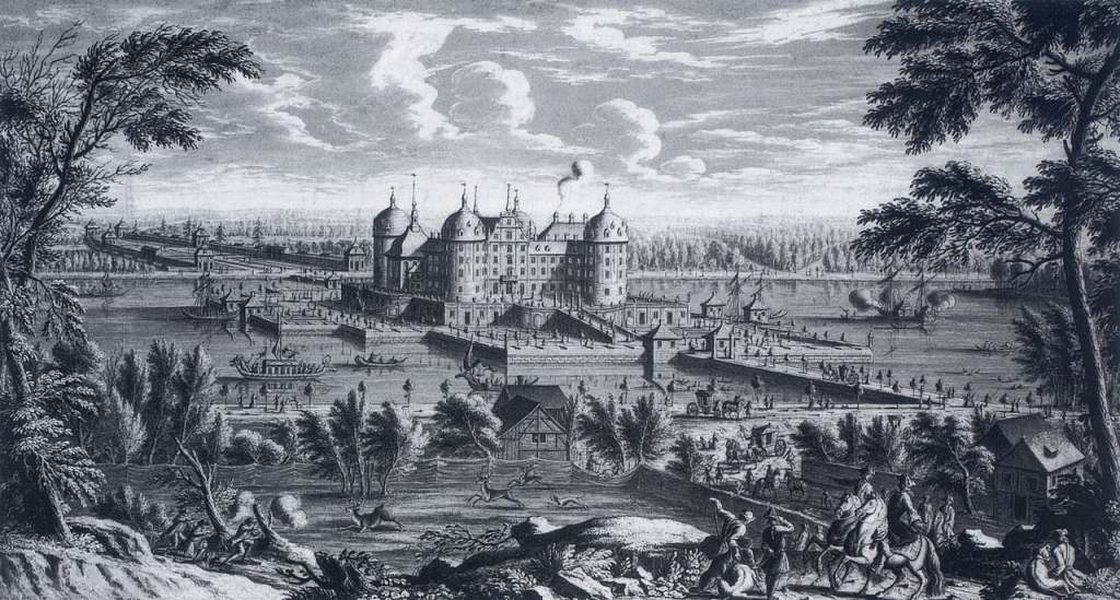 Moritzburg castle from a far back in 1733 captured by the artist Jean Gaspard Ulinger in black and white.