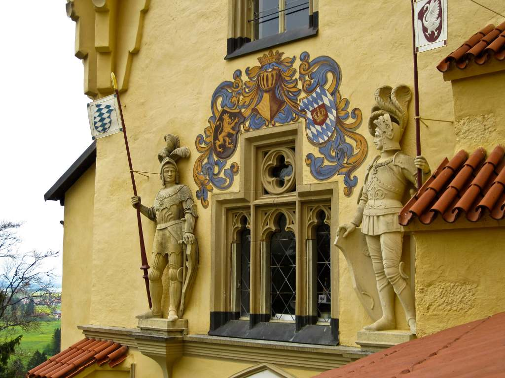 The beautiful facade soldier statue details of the Hohenschwangau castle