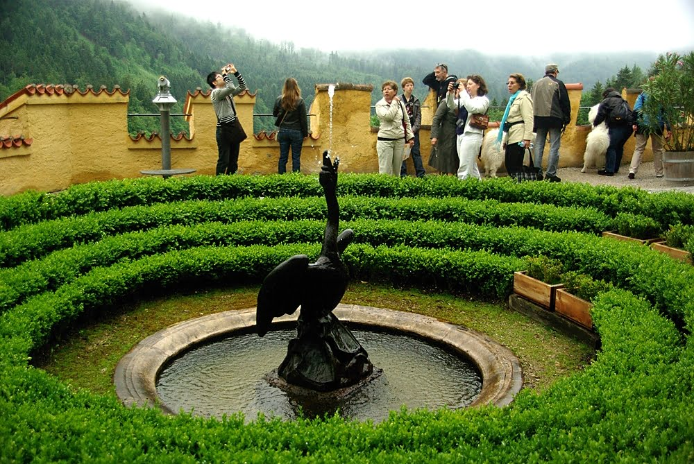 Beautiful swan fountain at Hohenschwangau castle surrounded by green bushes and visiting tourists.