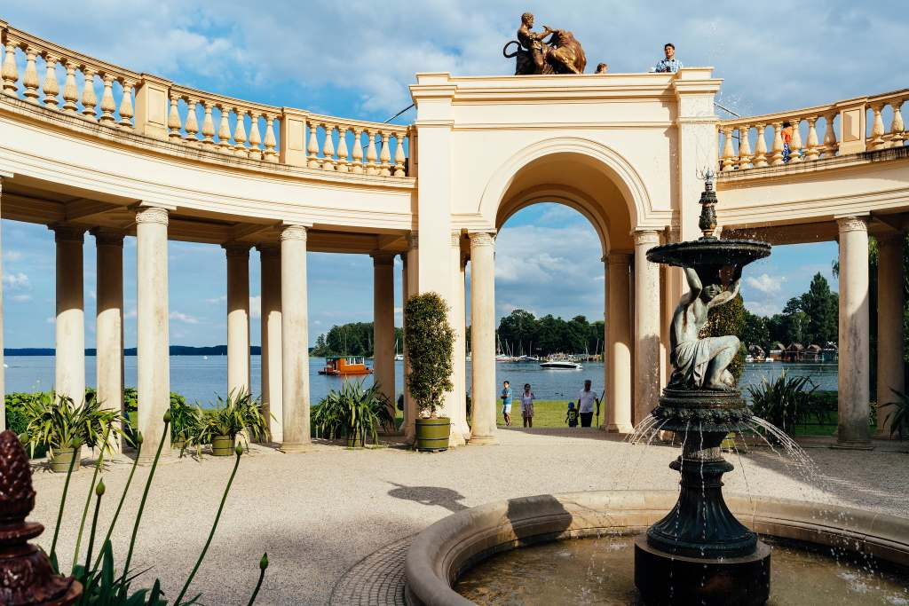 A view of the inner yard of the Schwerin castle near the lake.