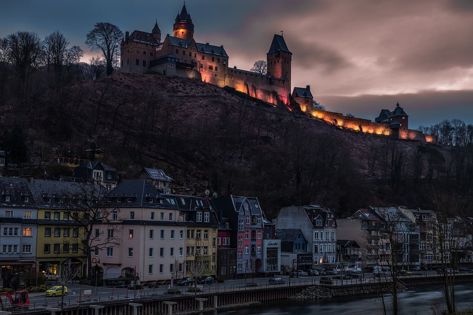 A gorgeous night view of Altena Castle and the town below