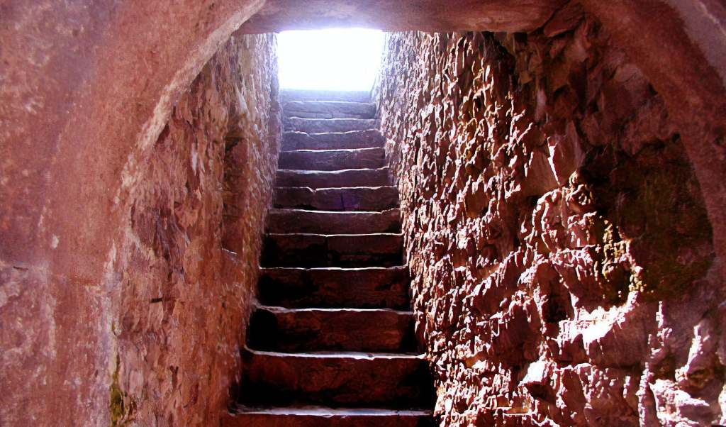 The Narrow rocky stairs of the Cahir castle.