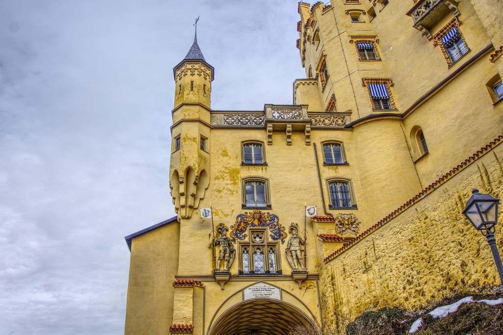 Beautiful architectural details of Hohenschwangau Castle facade.