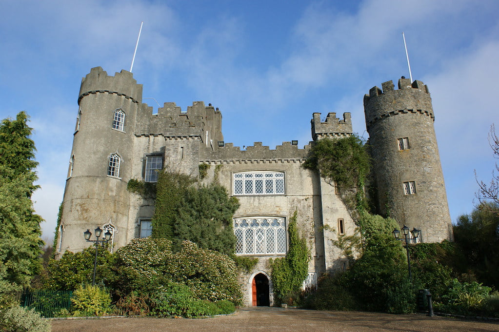 Malahide Castle upclose view surrounded by trees