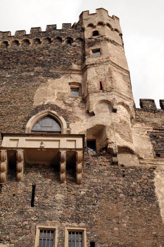 "Exterior view of the ""Romantic"" architectural details of Burg Rheinstein"