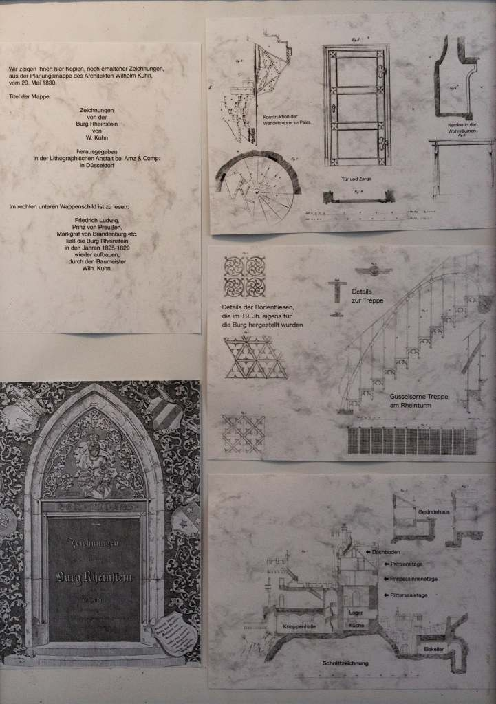 Architectural drawings of the Rheinstein castle. with details of the structure