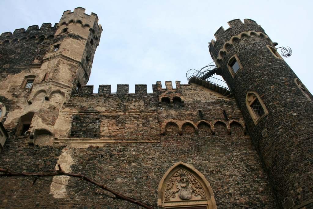 Worms eye view of Rheinstein Castle's tower.