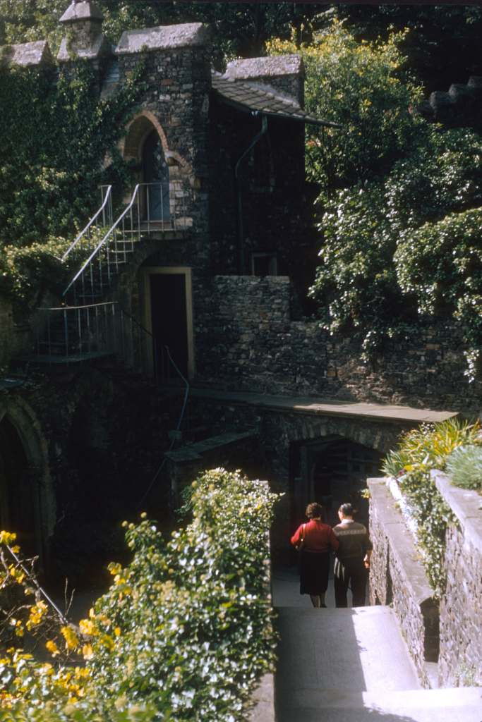 The beautiful walls inside Rheinstein Castle surrounded by flowers and bushes.