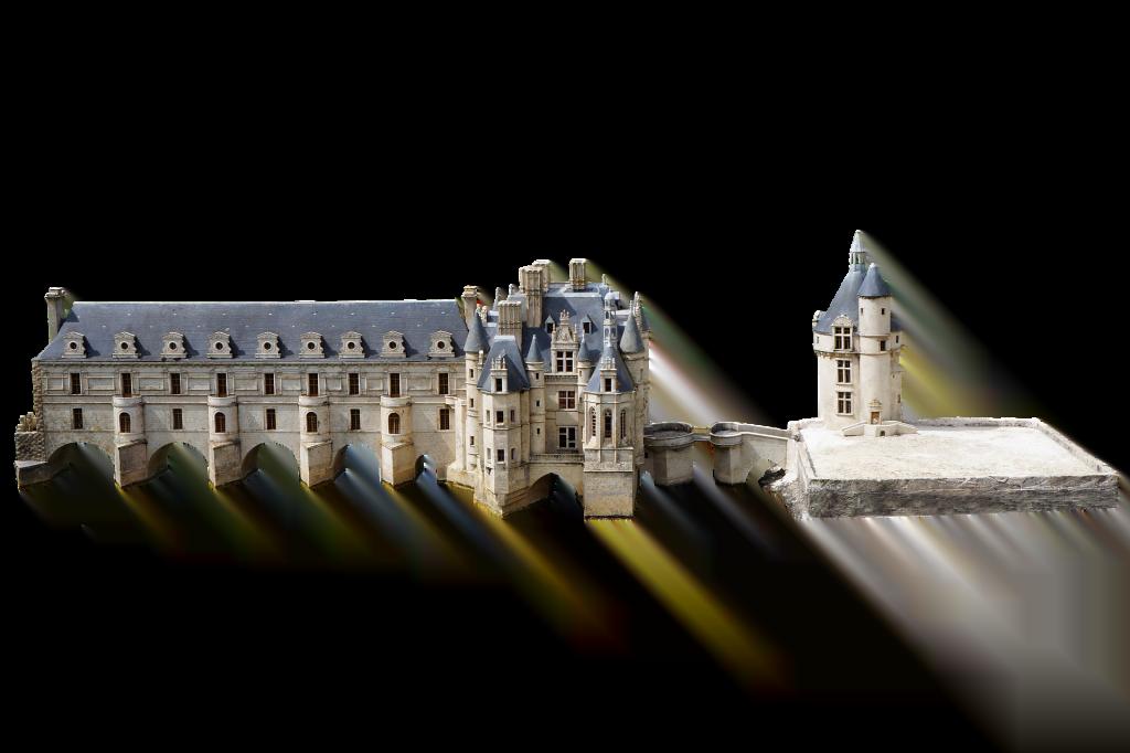 A birds-eye 3D of the Château de Chenonceau that shows its sprawl