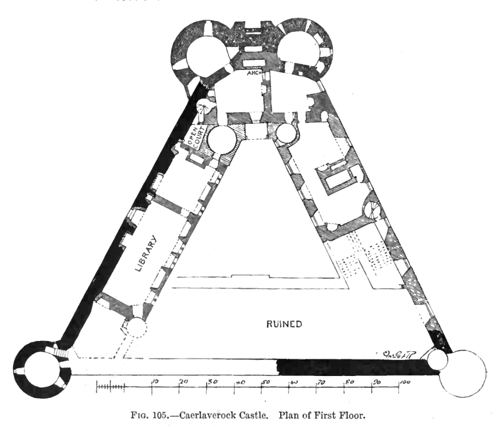 An architectural plan of the Caerlaverock Castle's First floor