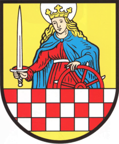 The crest of Altena town & castle--drawn from the patron saint, Catherine of Alexandria, and the coat of arms of the Counts of Mark.