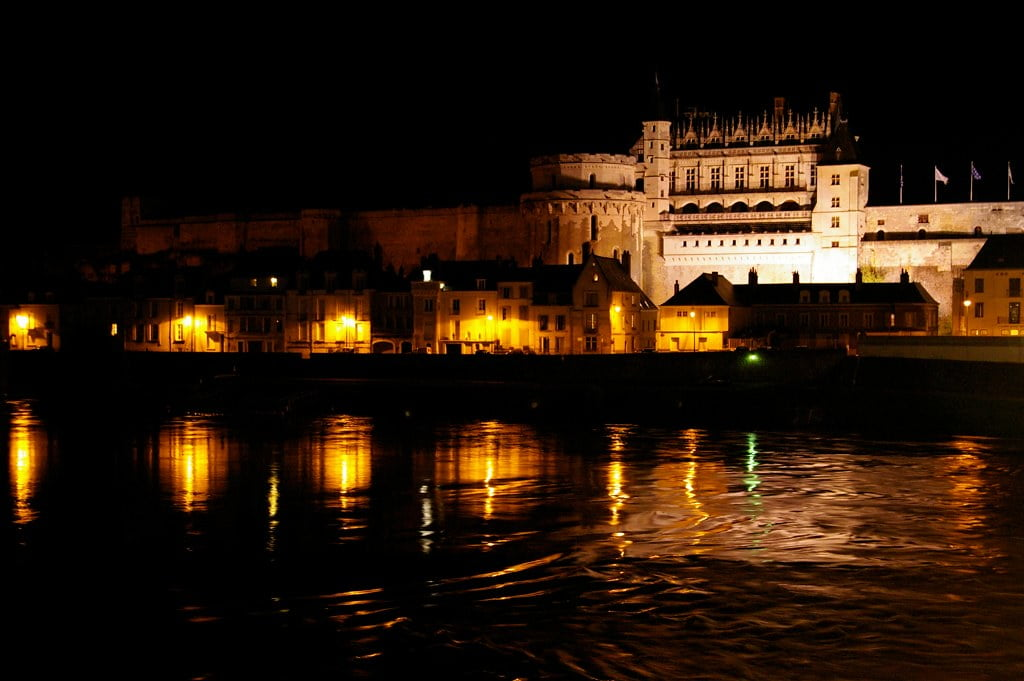 The beautiful Château d'Amboise view at night from across the river.