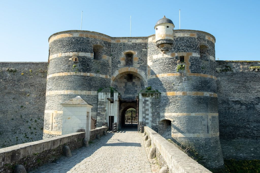 The city gate of Château d'Angers with the bridge.