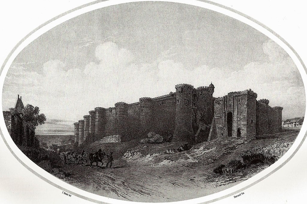 An old images of Chateau d'Angers far view.