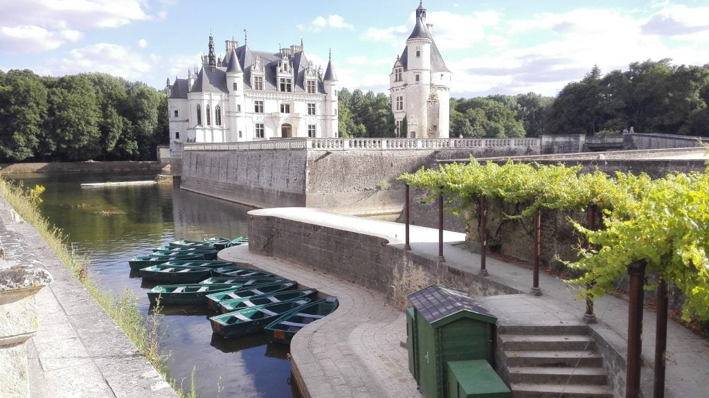 A view of the chateau from the dock of River Cher.