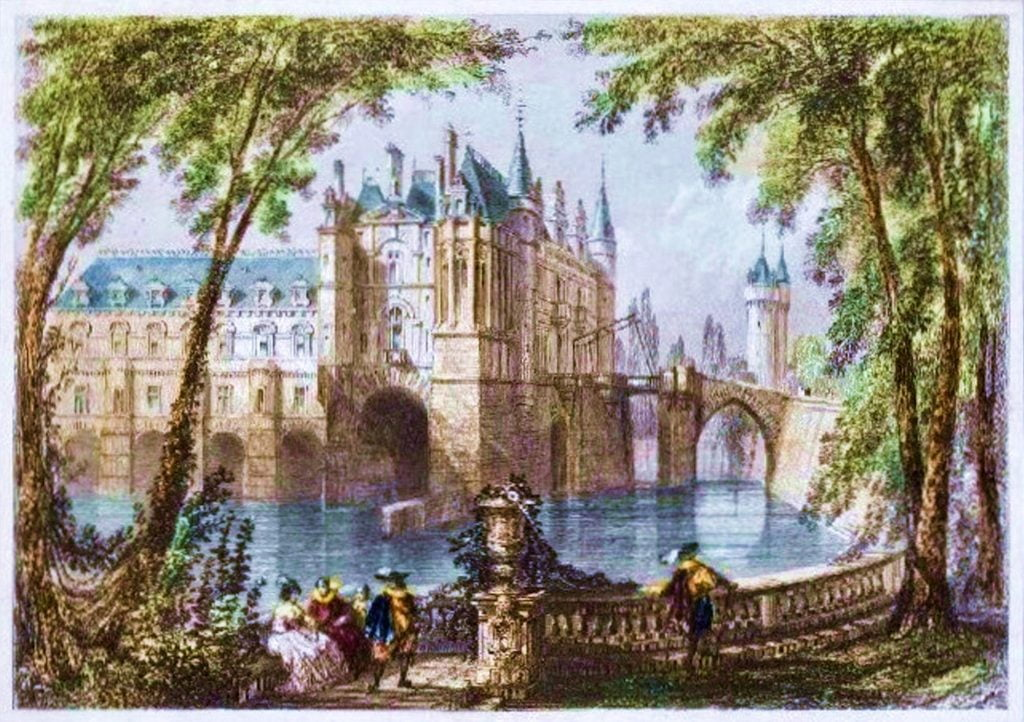 An old painting of the Château de Chenonceau .