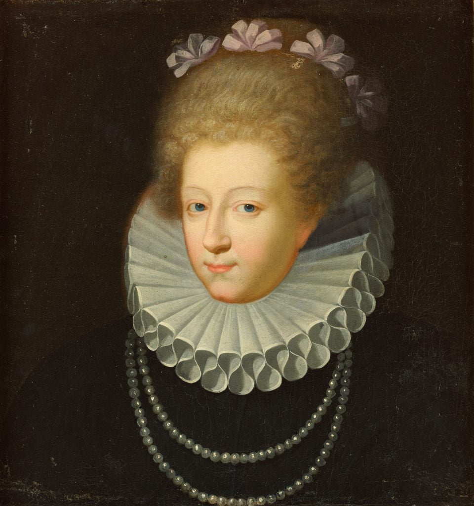 A painting of Gabrielle d'Estrees, the Duchess of Beaufort.