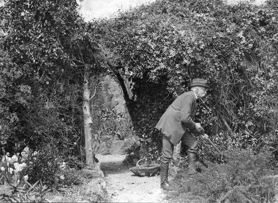 British Army officer General George Vaughan Hart in his Garden.