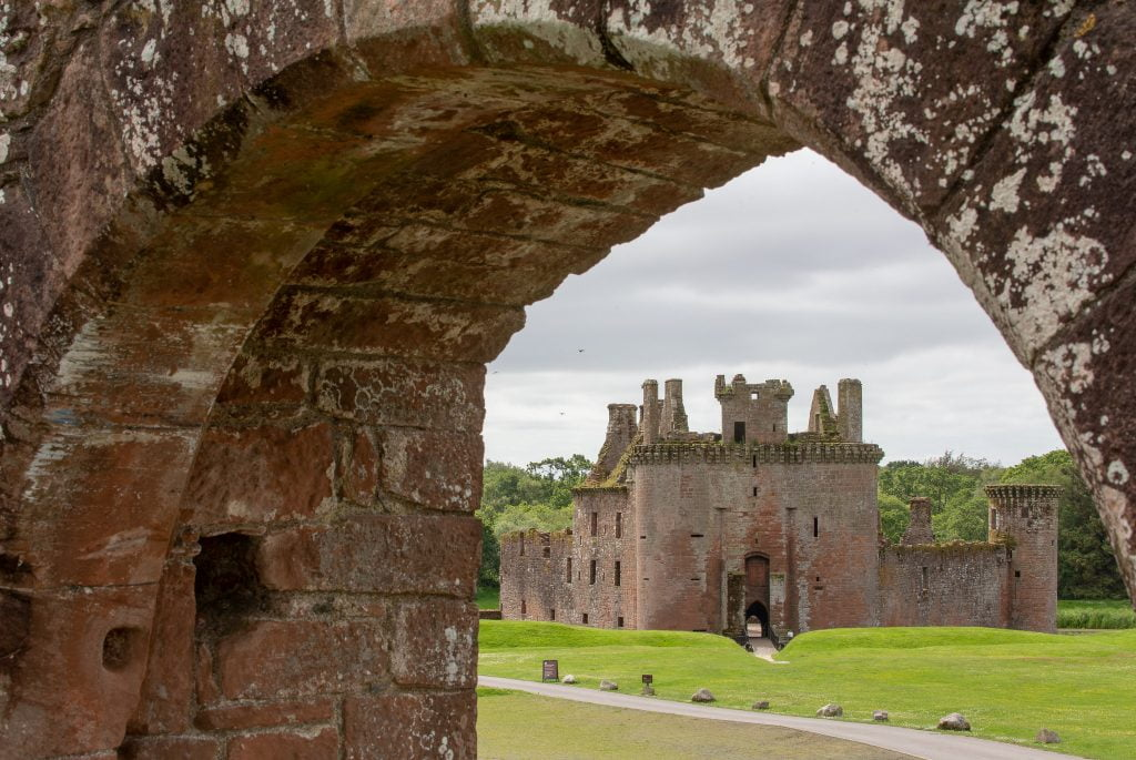 Caerlaverock's Castle view from across the ruins