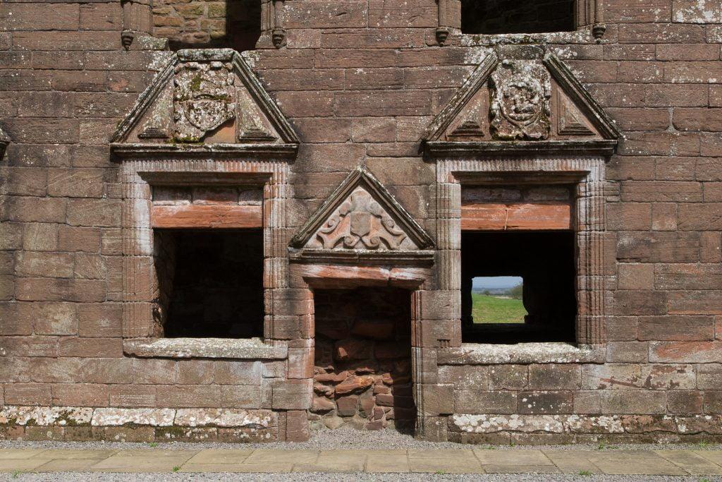 Some interior parts of the Caerlaverock Castle.