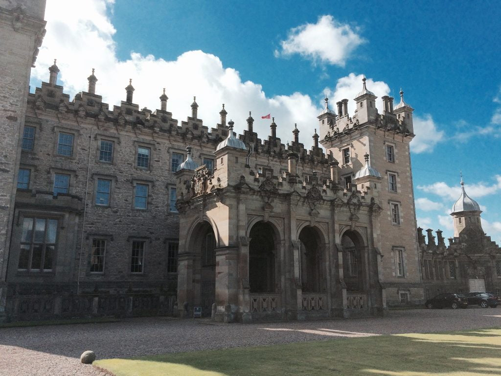 A closer view of the architectural structure of the floors castle.