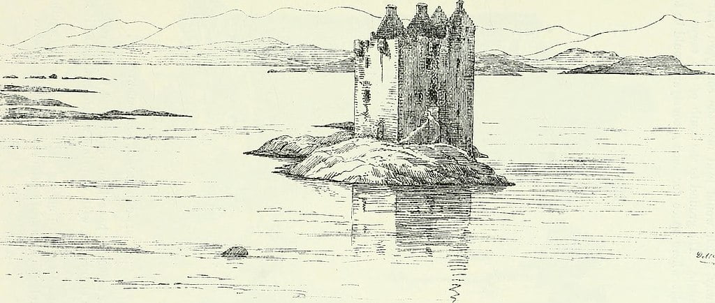 An 1887 rendering of the islet on which Castle Stalker stands.
