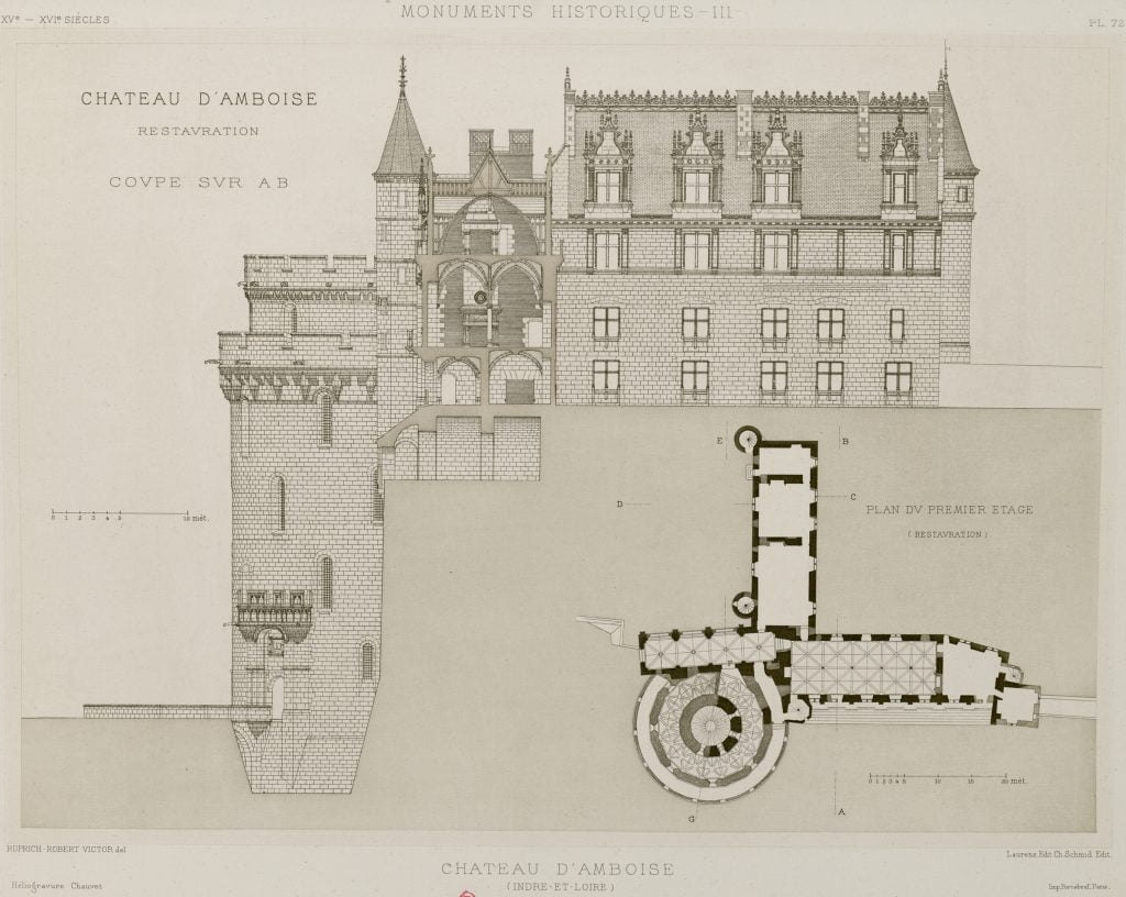 An elevational and planuler look at the Château d'Amboise.