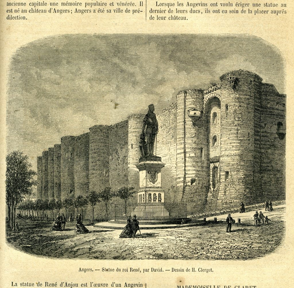 An old illustration of Chateau d'Angers