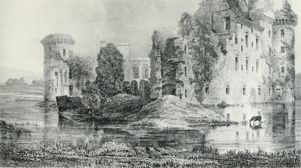 An old sketch of the Caerlaverock Castle and its surroundings