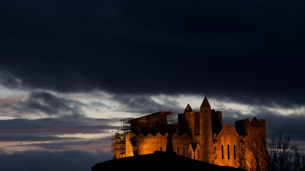 The Rock of Cashel's view at nigh with lights.