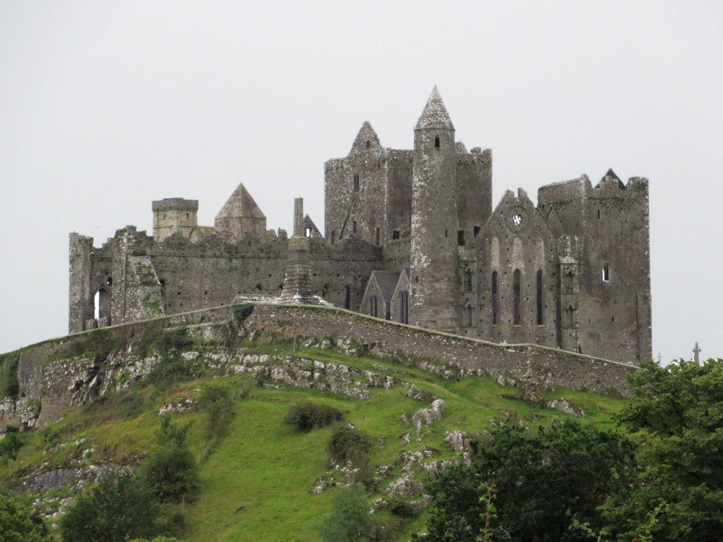 A closer look of The Rock of Cashel's exterior structure.