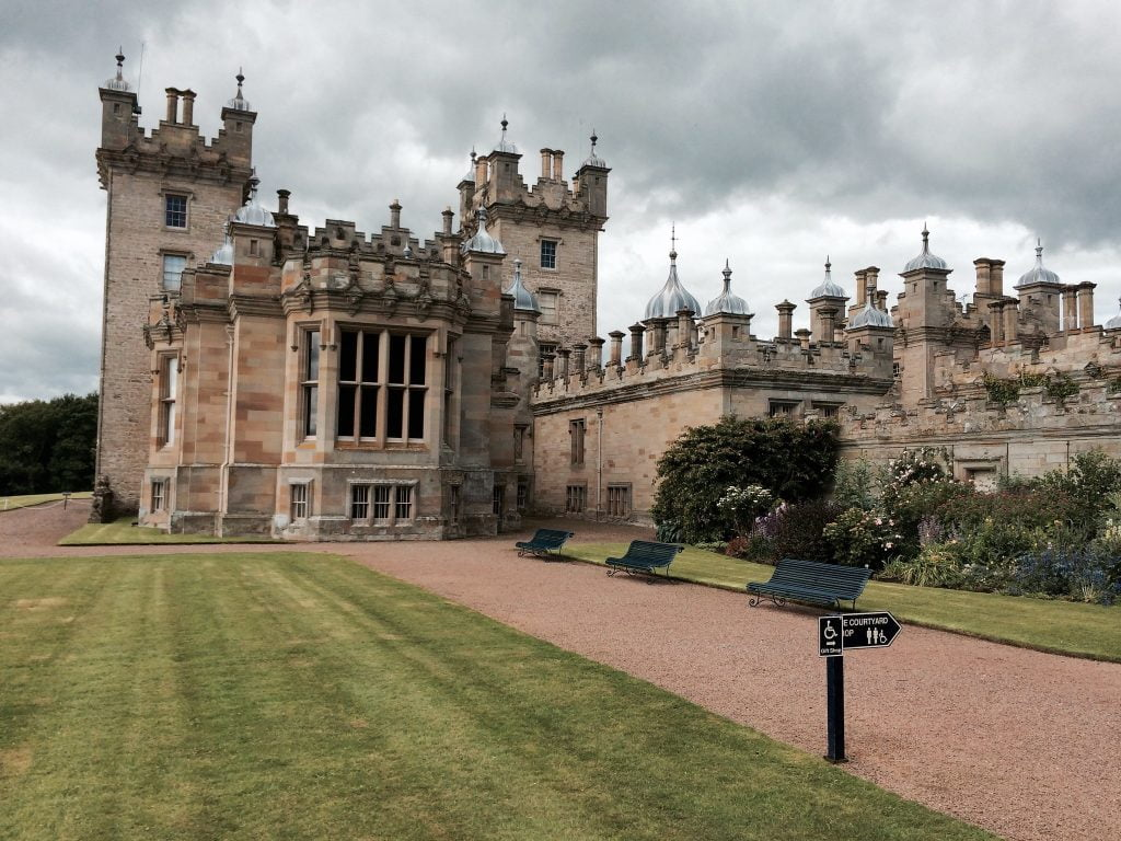 A side-view of the Floors Castle facade.
