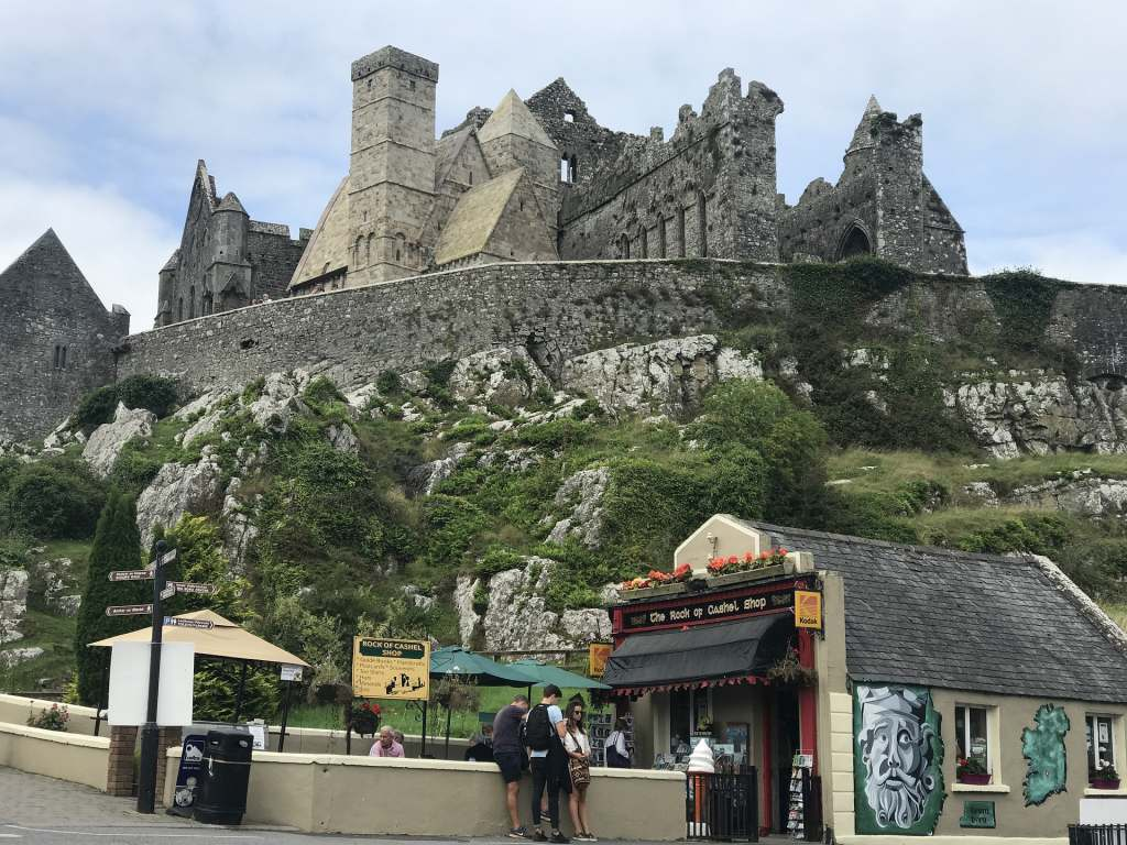 A view of the side elevation of the Rock of Cashel and its entrance.