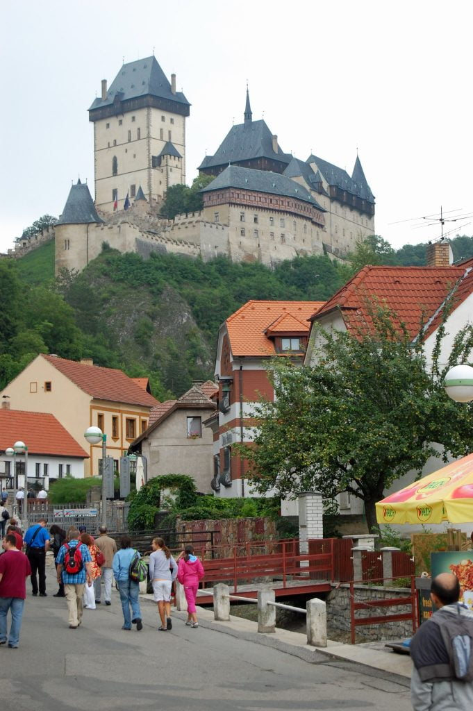 The small town below Karlštejn Castle with the residence people.