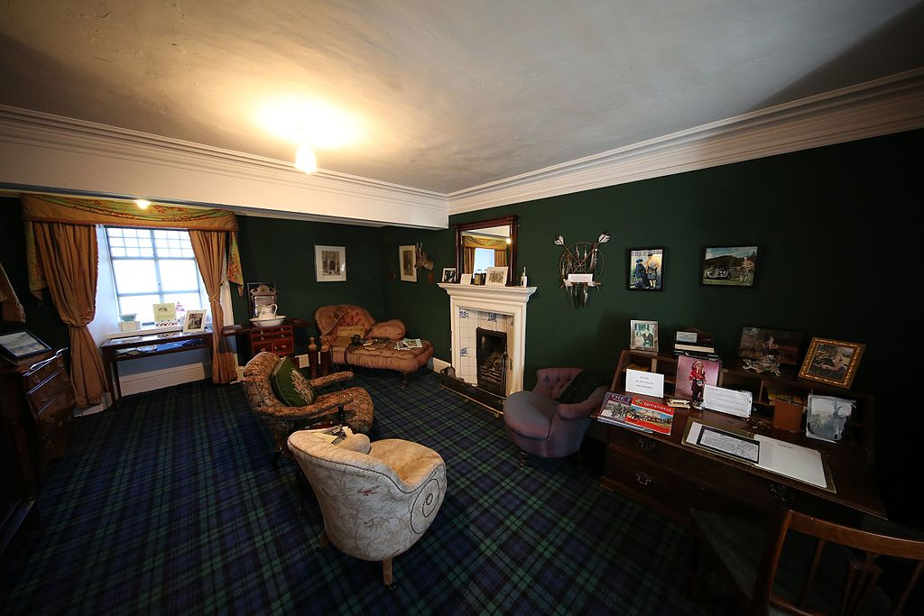 The cozy laird's study interior at Braemar Castle.