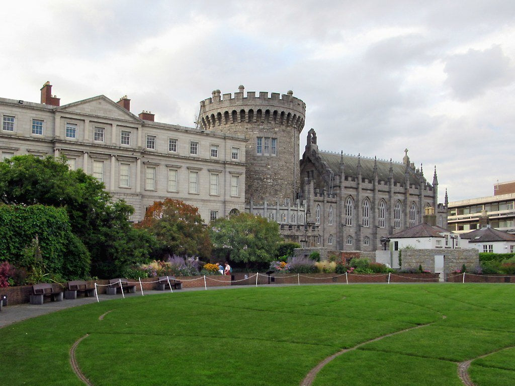Several buildings of Dublin Castle over Dubhlinn Gardens: (left-to-right) the State Apartments, the Records Tower, & the Chapel Royal.