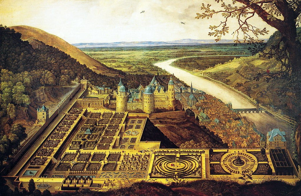 Heidelberg Castle at its full glory around 1650, featuring the Hortus Palatinus (castle gardens) in the foreground.