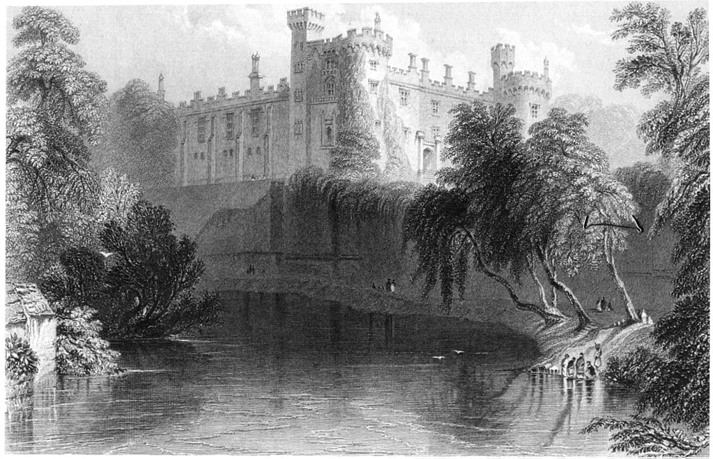 A rendering of Kilkenny Castle from the River Nore, in 1841.