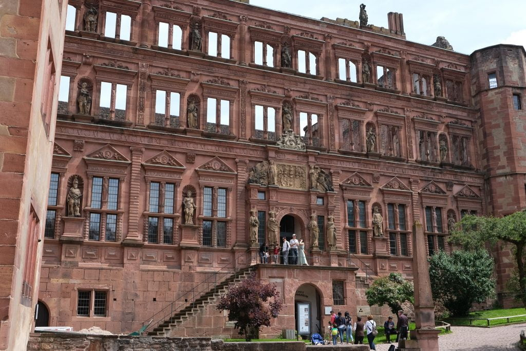 The Ottheinrich Building at Heidelberg Castle as it stands today, with only its main floor roofed