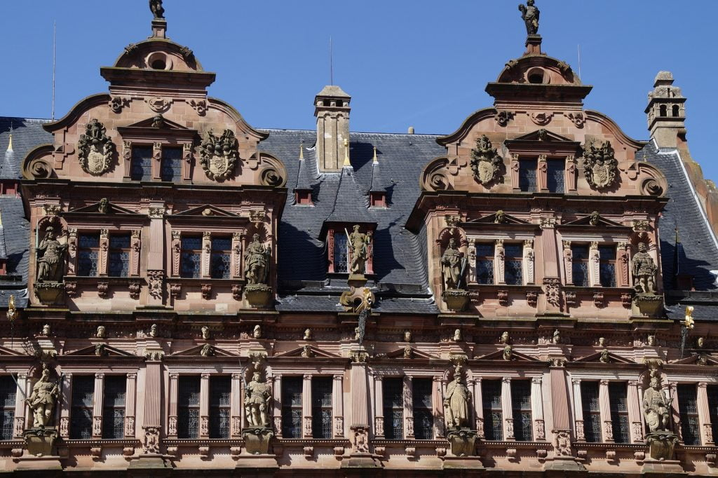 An up-close of the renovated Frederick Building at Heidelberg Castle