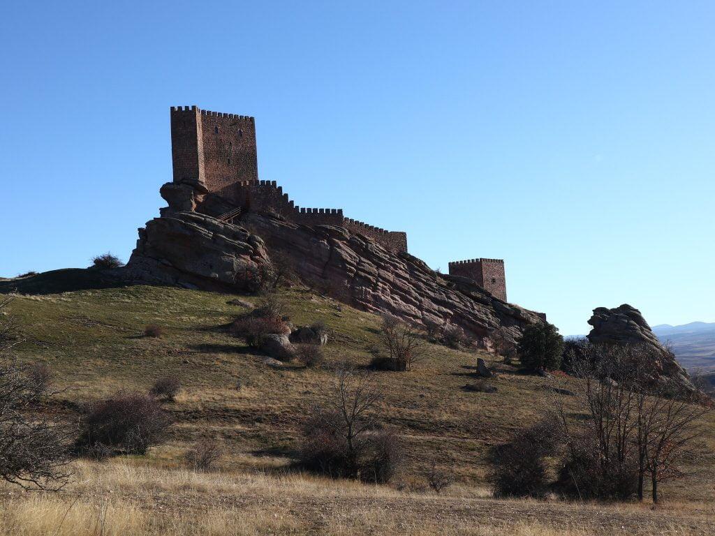 Worm's eye view of Castle Zafra.