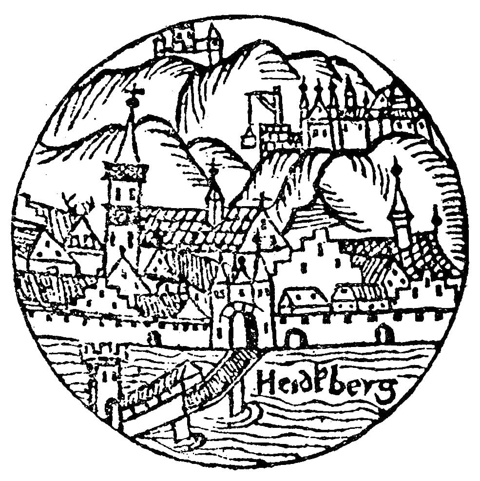 The earliest known depiction of Heidelberg Castle, from a 1527 print.