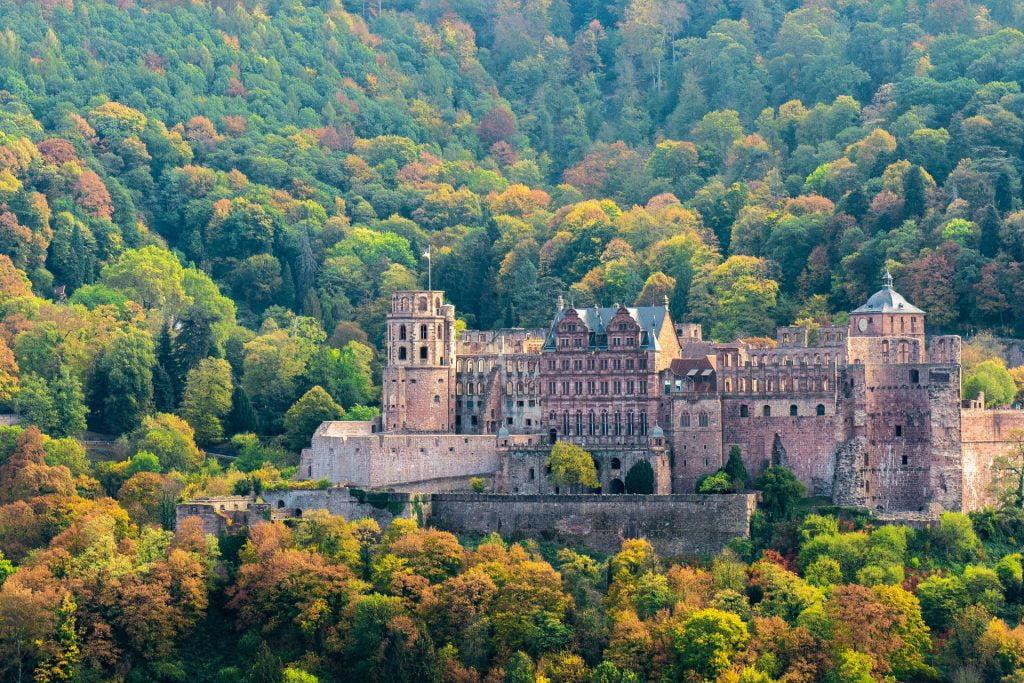 Full front view of Heidelberg Castle.