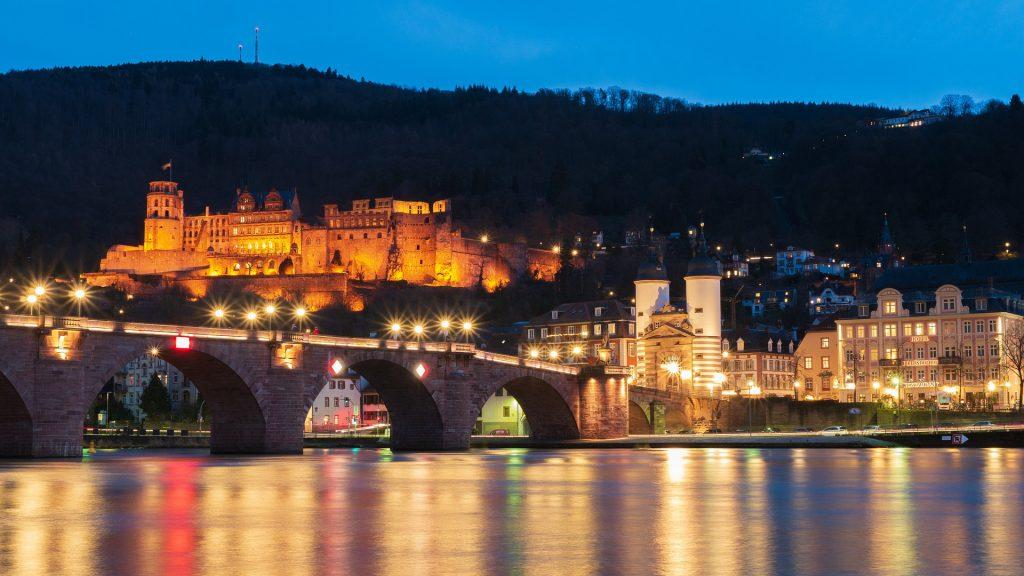 Heidelberg Castle's stunning view at night.